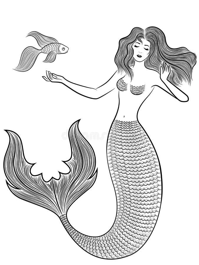 Sereia da maravilha com peixes ilustração stock