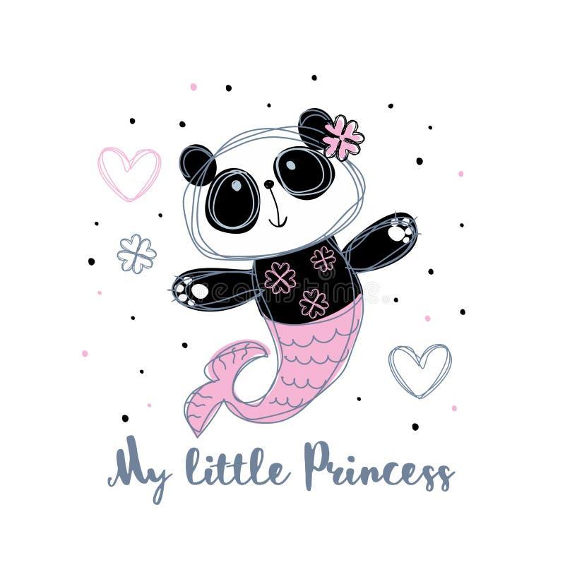 Sereia da panda Menina doce Princesa pequena Vetor ilustração do vetor
