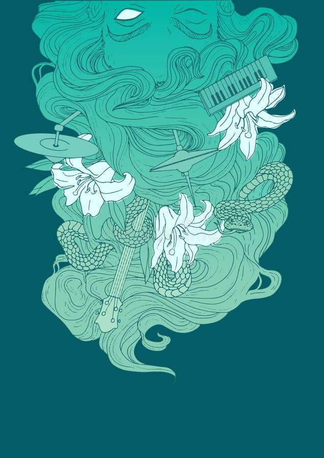 Sereia do zombi do grupo de rock ilustração royalty free