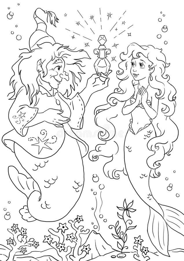 Sereia e bruxa pequenas do mar ilustração stock
