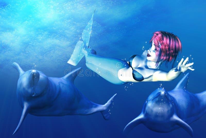Sereia e golfinhos ilustração royalty free