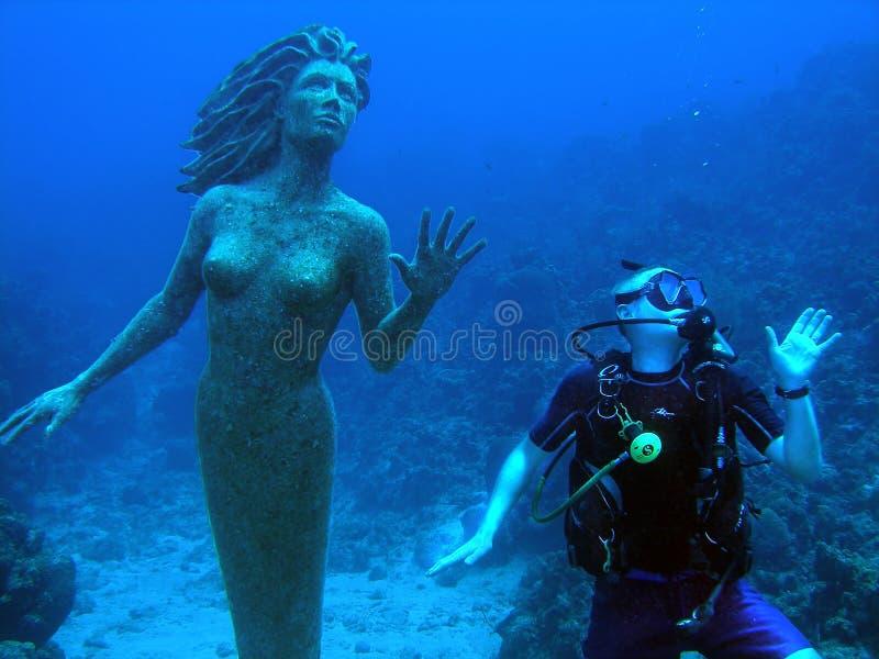 Sereia e mergulhador fotos de stock royalty free