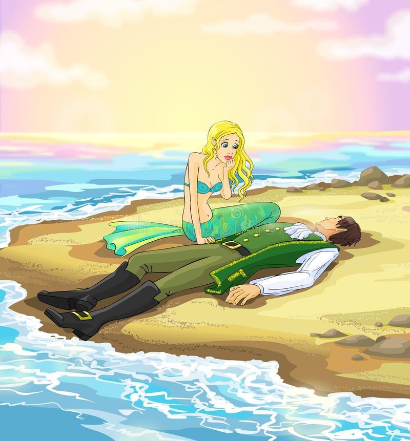 Sereia e príncipe do conto de fadas 5. ilustração do vetor