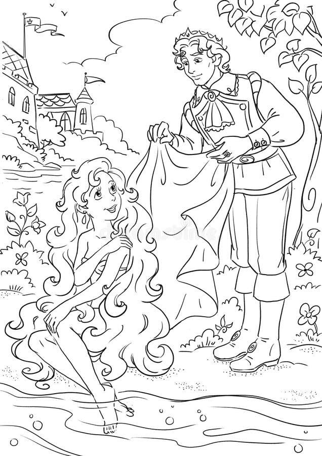 Sereia e príncipe pequenos ilustração do vetor