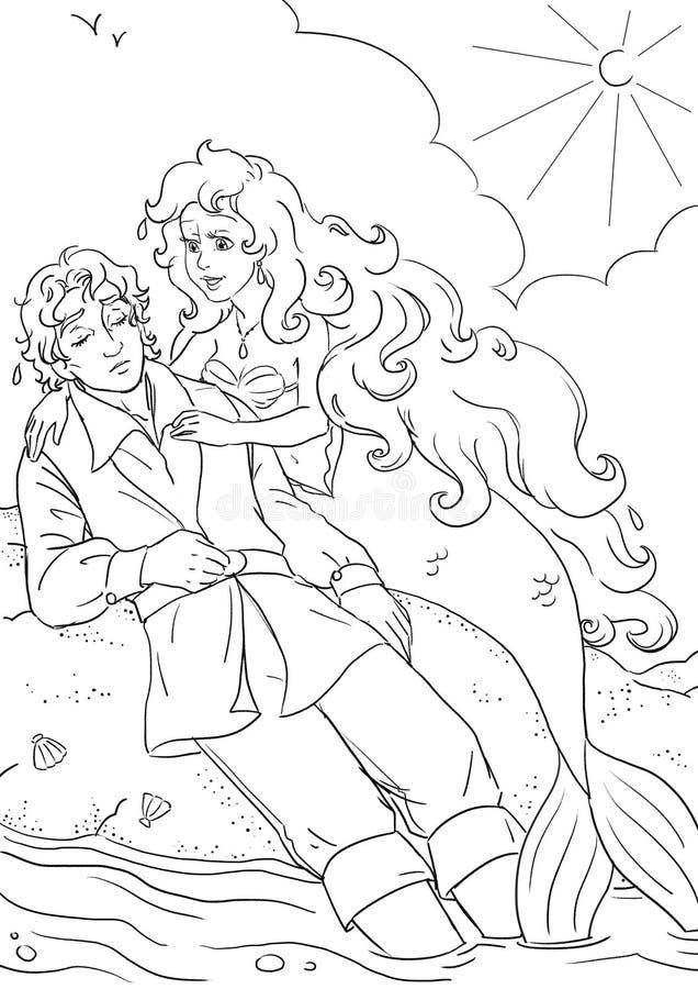 Sereia e príncipe pequenos ilustração stock