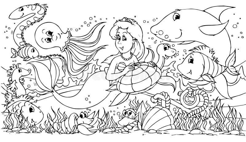 Sereia e seus amigos ilustração royalty free