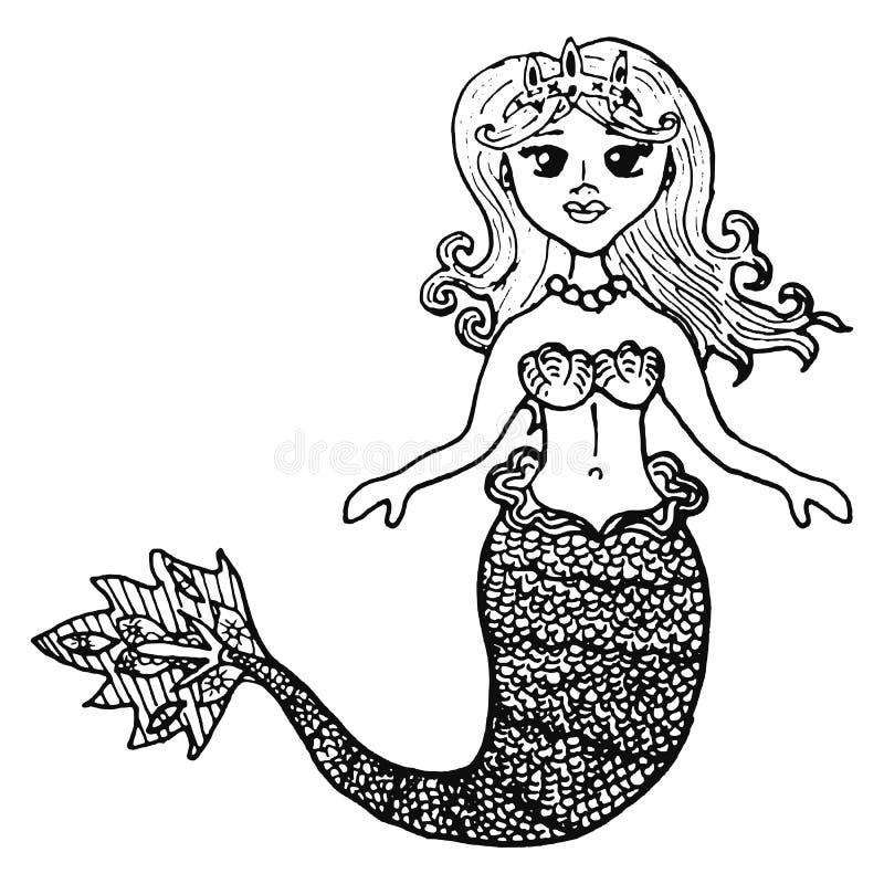 Sereia em uma ilustração do vetor do esboço do tiade em preto e branco ilustração stock