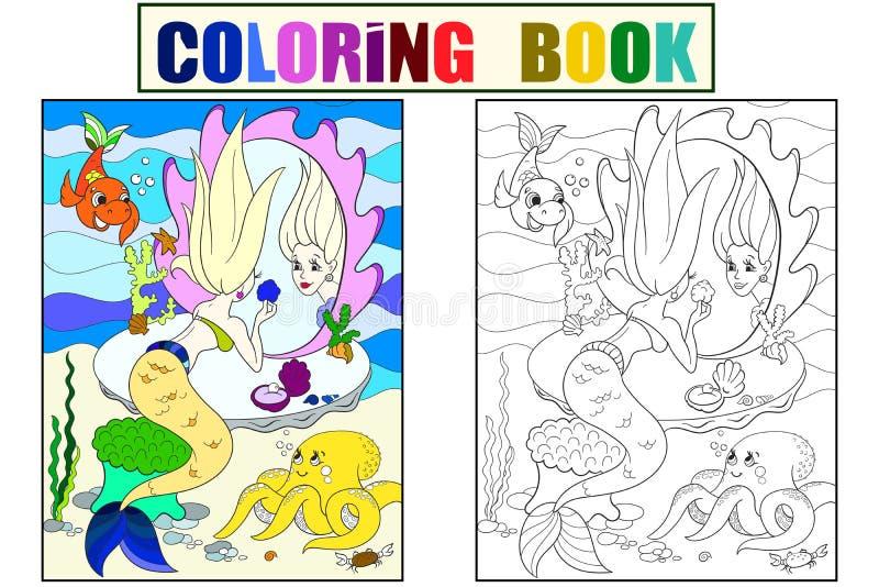 A sereia olha no livro para colorir do espelho para a ilustração do vetor dos desenhos animados das crianças Cor, preto e branco ilustração royalty free