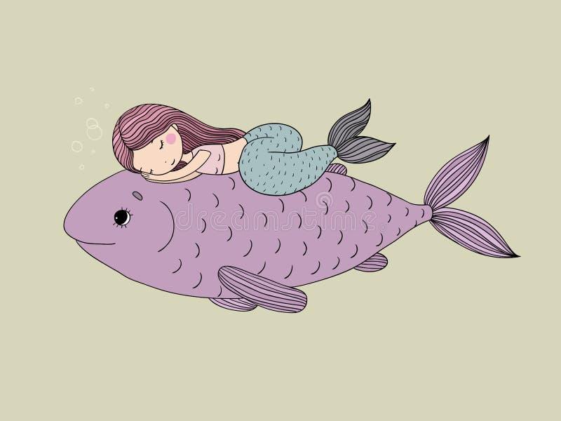 Sereia pequena bonita e peixes grandes ilustração stock