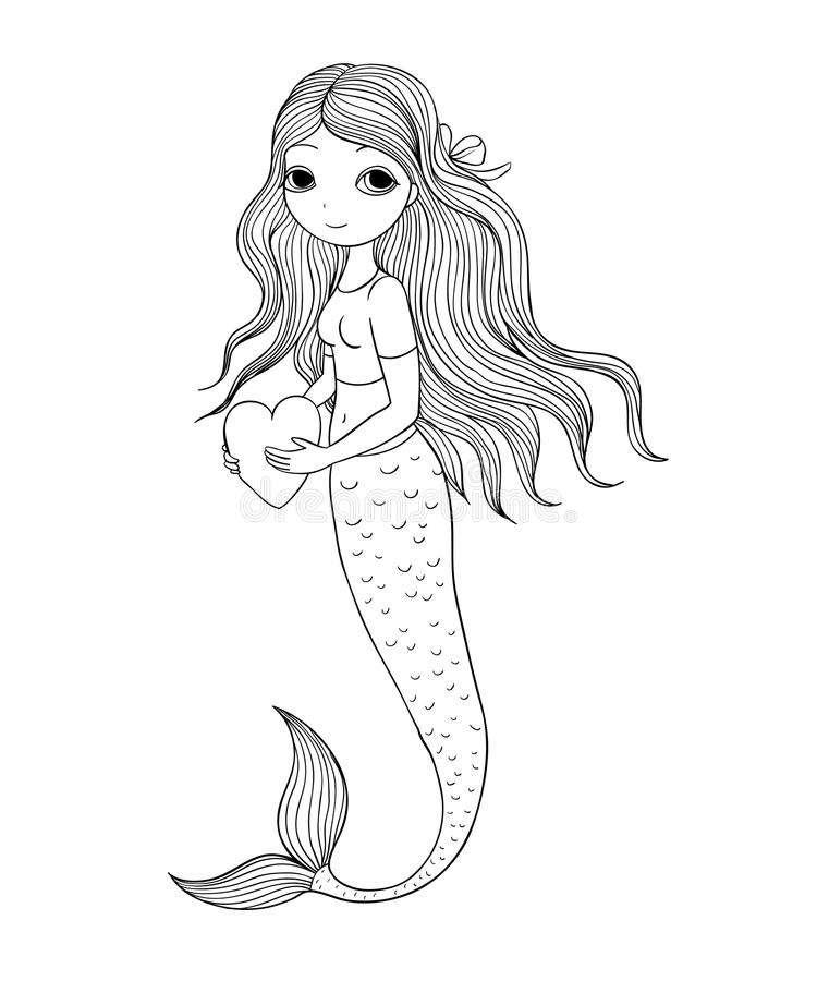 Sereia pequena bonita Sirene Tema do mar ilustração stock