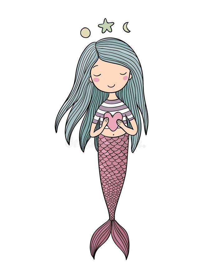Sereia pequena bonito com coração Sirene Tema do mar Ilustração do vetor ilustração do vetor