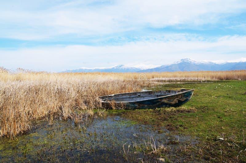 Sereia pintada em um barco de pesca fotos de stock
