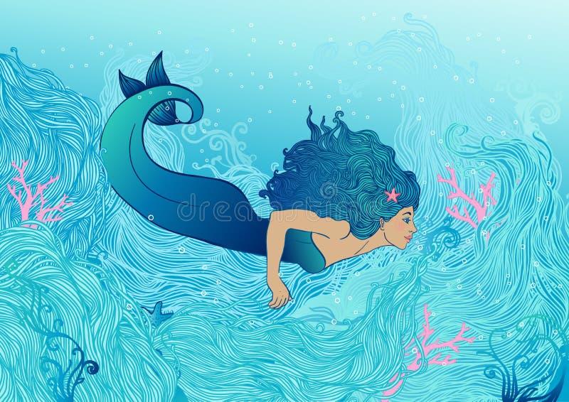 Sereia sob o mar ilustração stock