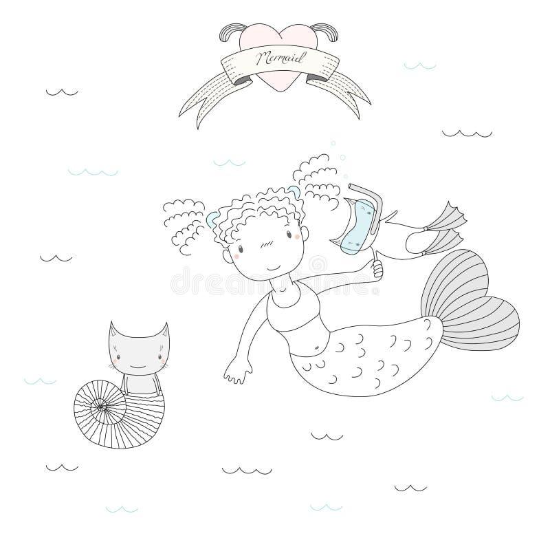 Sereias e gatos ilustração stock