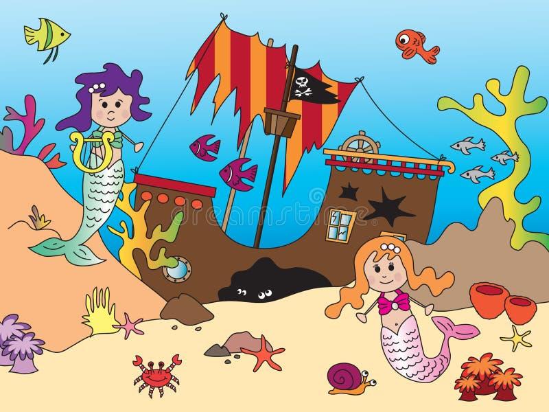 Sereias no oceano ilustração do vetor