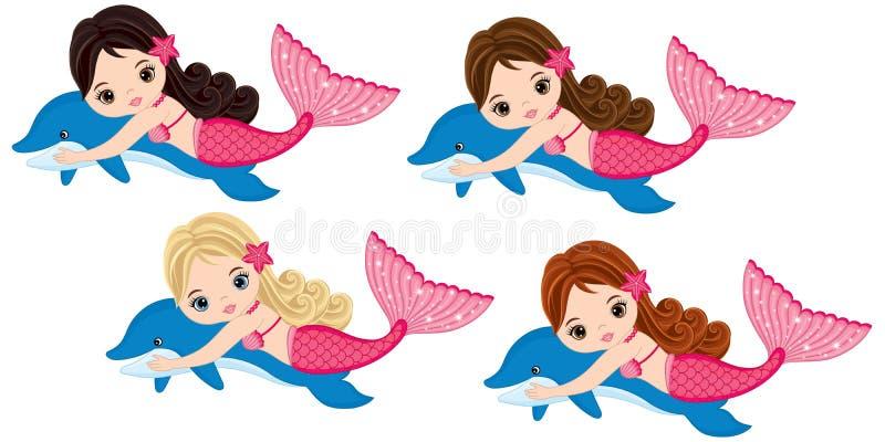 Sereias pequenas bonitos do vetor que nadam com golfinhos Sereias do vetor ilustração stock