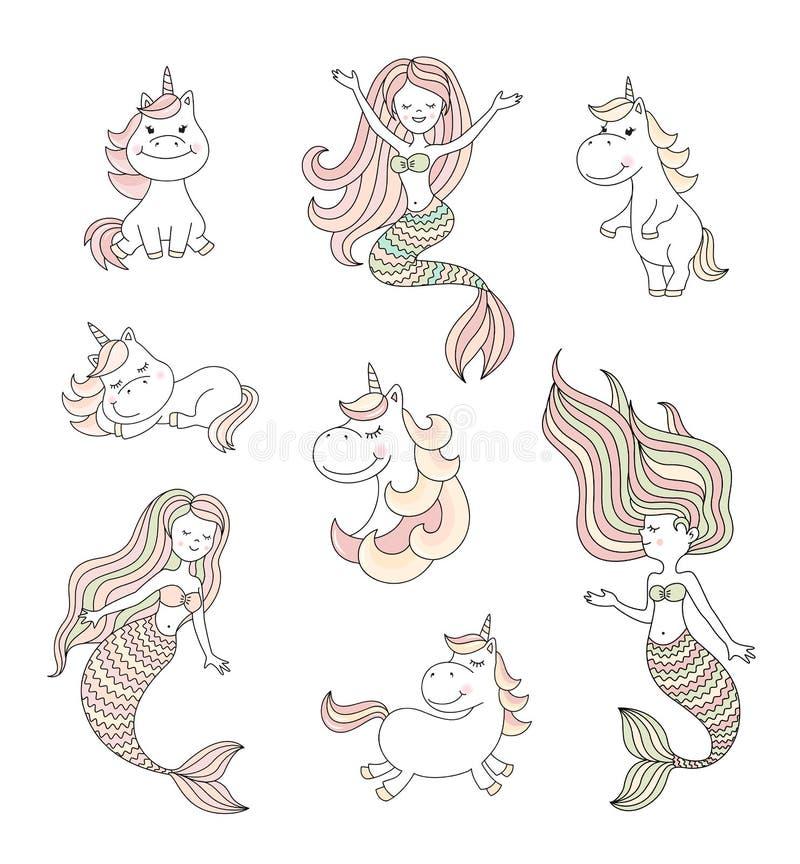 Sereias pequenas bonitos e grupo mágico do vetor dos unicórnios ilustração do vetor