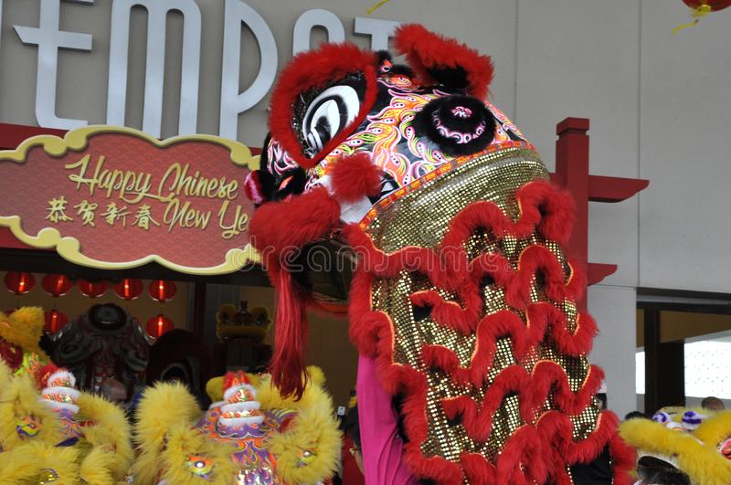 Lion dance performance during Chinese New Year Festival at Seremban, Malaysia. SEREMBAN, MALAYSIA -FEBRUARY 2, 2017: Lion dance performance during Chinese New royalty free stock photos