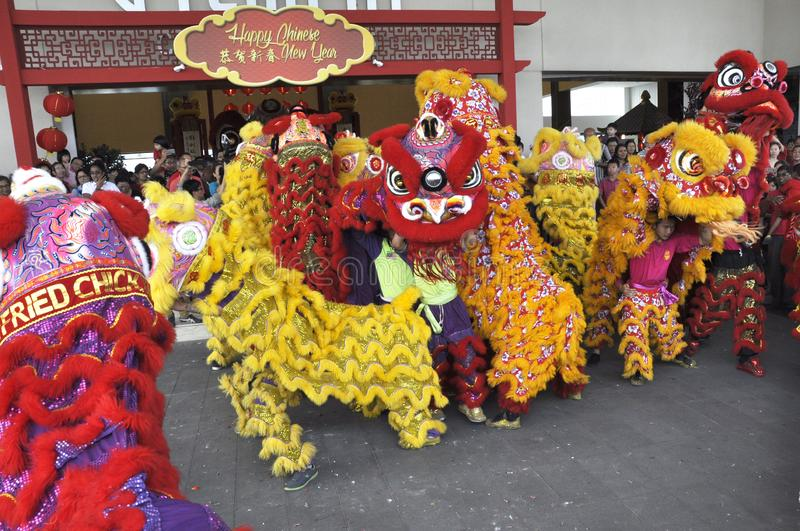Lion dance performance during Chinese New Year Festival at Seremban, Malaysia. SEREMBAN, MALAYSIA -FEBRUARY 2, 2017: Lion dance performance during Chinese New stock photography