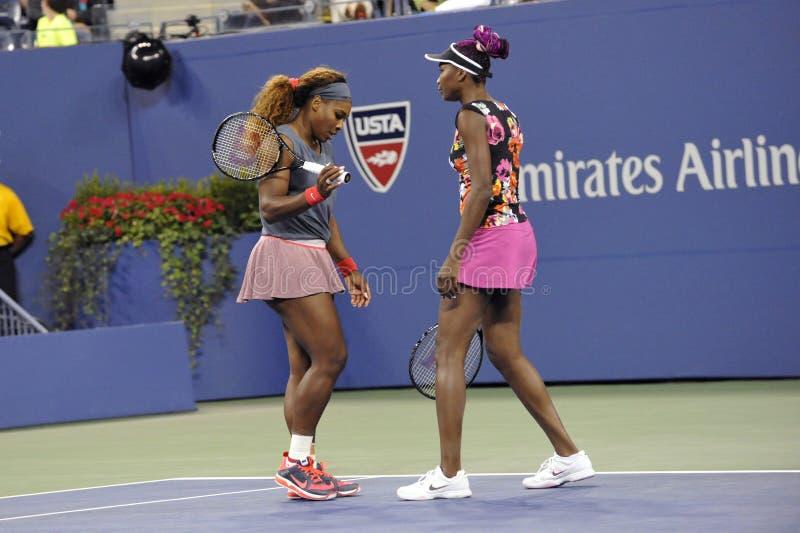 Serena & Venus Williams US 2013. Serena Williams won the US Open 2013; Venus Williams royalty free stock photography