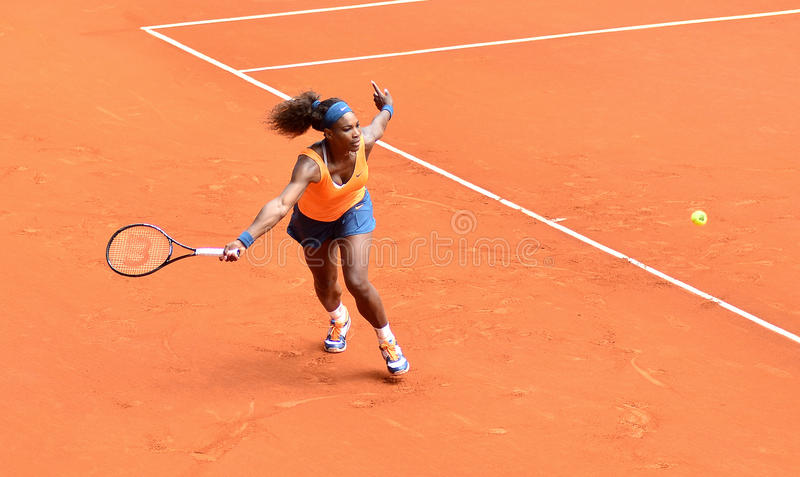 Serena Williams au WTA Mutua Madrid ouvert photographie stock libre de droits