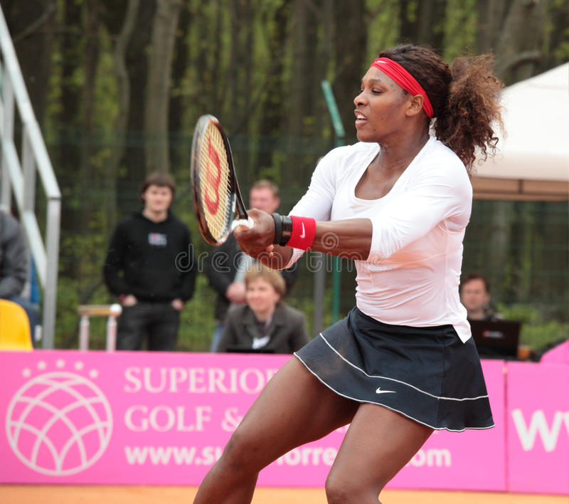 Serena Williams. KHARKOV, UKRAINE - APRIL 22, 2012: Serena Williams in the match with Lesia Tsurenko during Fed Cup tie between USA and Ukraine in Superior Golf stock photo