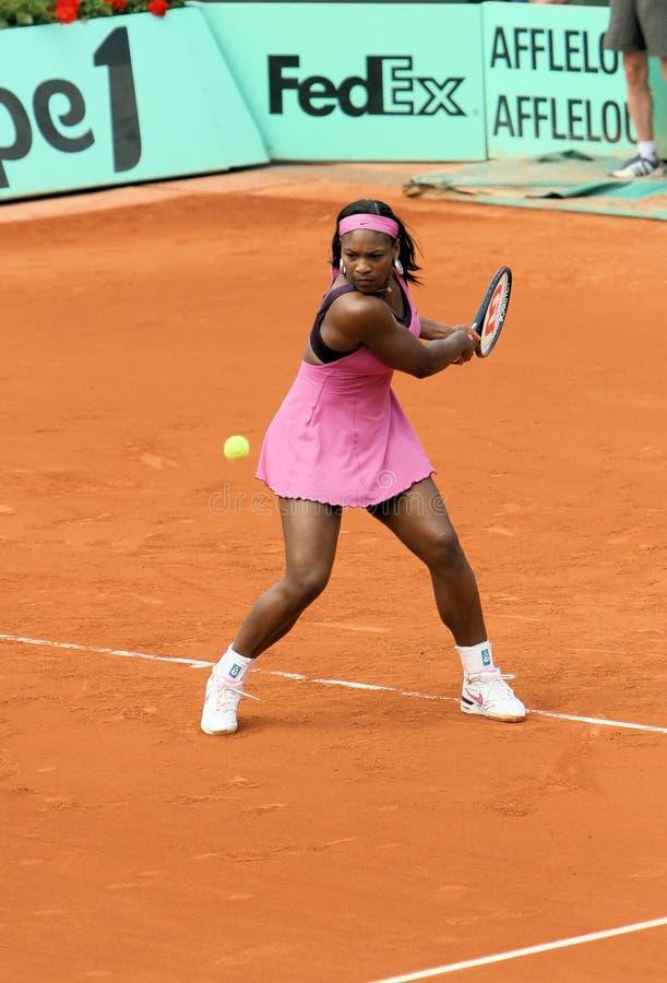 Serena Williams plays at Rolan royalty free stock image