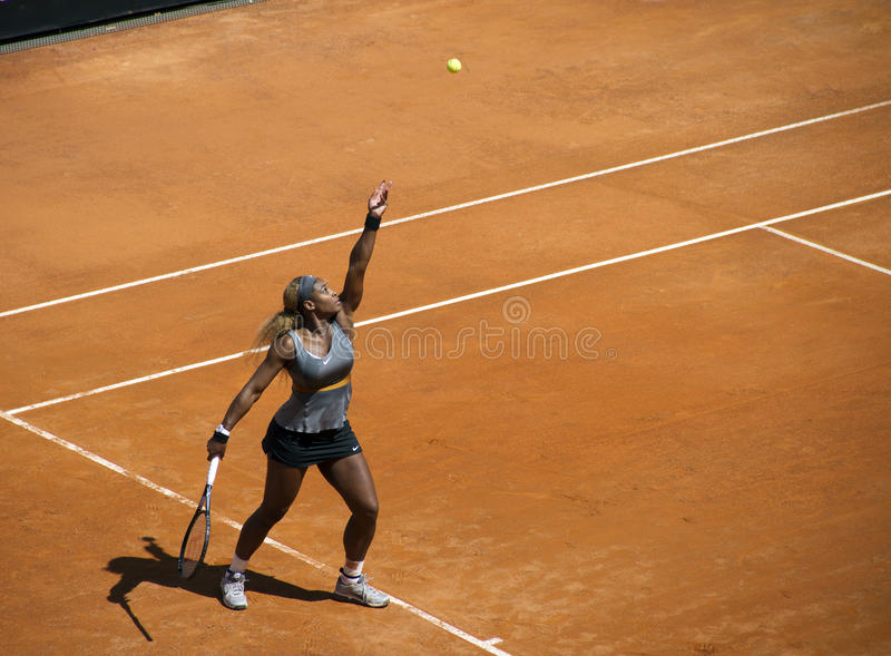Serena Williams. Rome- May 18: Serena Williams in action in the final match against Sara Errani in the foro italico for International Rome on May 18, 2014, in stock photography