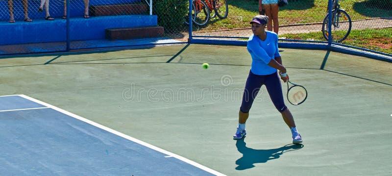 Serena Williams In Umag, Croatia. Serena Williams practicing in Umag, Croatia royalty free stock image
