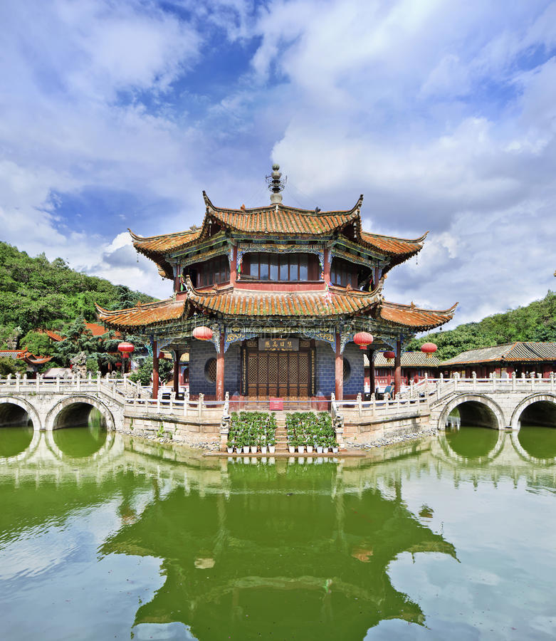 Serene atmosphere at Yuantong Buddhist temple, Kunming, Yunnan Province, China. Serene atmosphere at the famous Yuantong Buddhist temple, Kunming, Yunnan royalty free stock photos