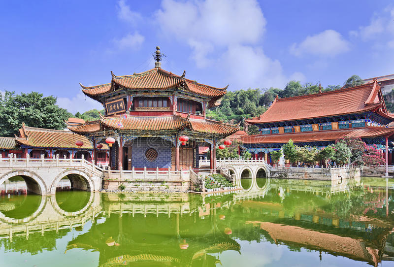 Serene atmosphere at Yuantong Buddhist temple, Kunming, Yunnan Province, China. Famous Yuantong Buddhist Temple, Kunming, Yunnan Province, China royalty free stock image