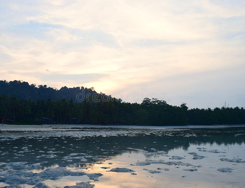 Serene Beach am Abend mit Palmen, am Sonnenuntergang hinter Hügeln und am hellen Himmel - Vijay Nagar Beach, Havelock-Insel, Anda lizenzfreies stockbild
