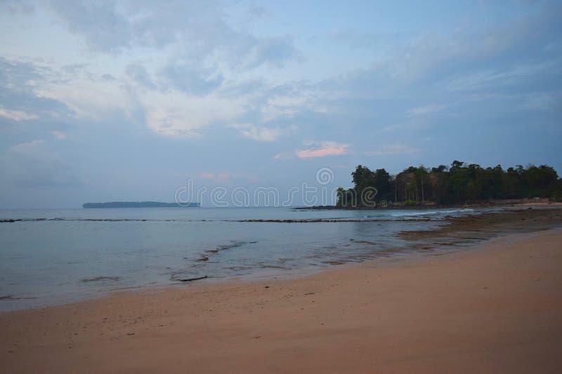 Serene Beach färger i himmel, kust- träd och en ö på avståndet - fridsam morgonSeascape - avkoppling och lugn royaltyfria foton