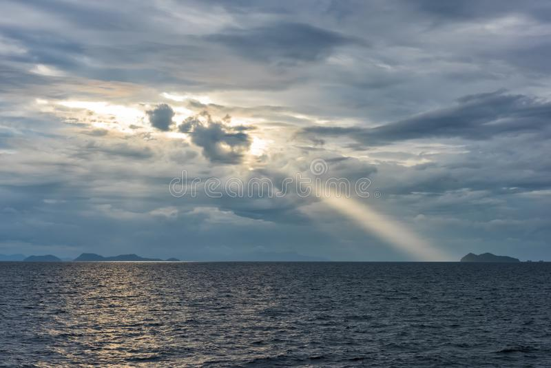 Serene cloudy seascape stock photography