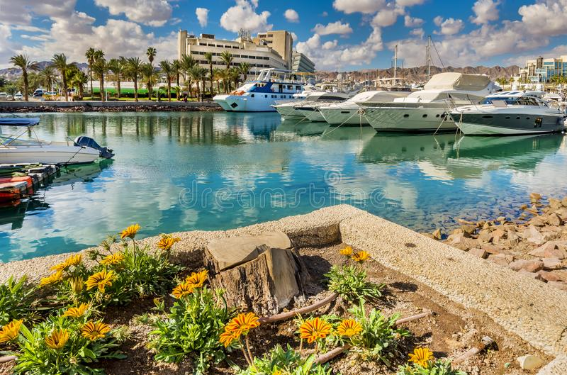 Central marina in Eilat, Israel. Serene day at central marina in Eilat-famous resort city in Israel, famous place for tourism, travel and blissing vacation royalty free stock photos