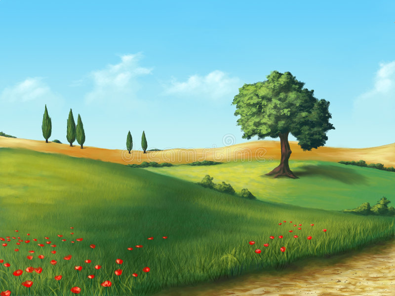 Serene landscape. Farmland in Tuscany, Italy. Original digital illustration royalty free illustration