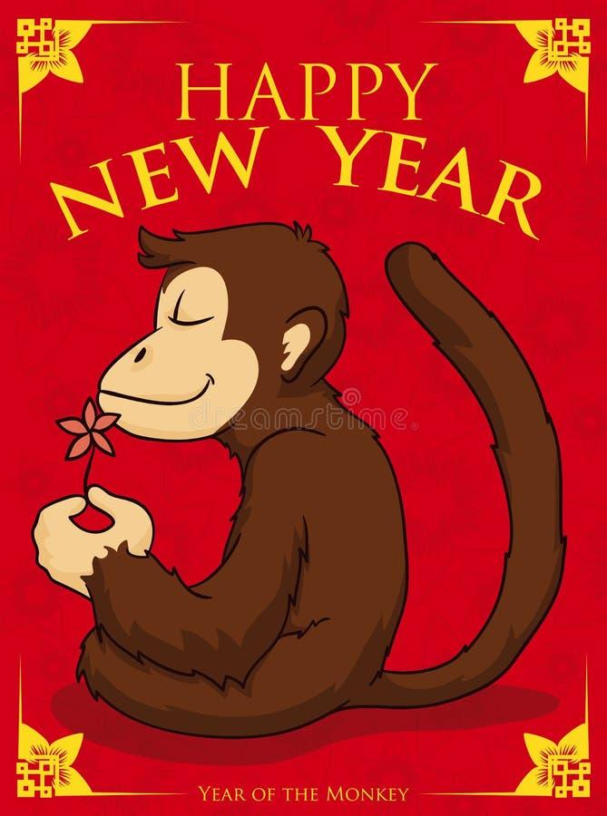 Serene Monkey Meditating in Nieuwjaaraffiche, Vectorillustratie royalty-vrije illustratie