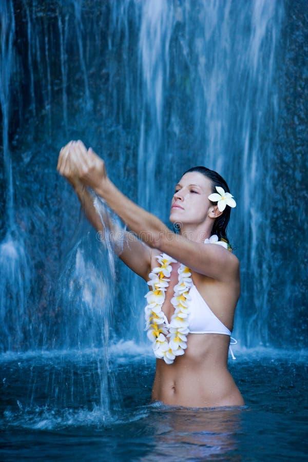 Serene Peaceful Woman Waterfall Stock Photo