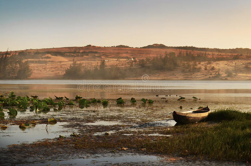 Serene Place. River with boat and water elements royalty free stock photo