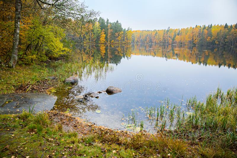 Serene Scandinavian autumn landscape of Southern Finland, Espoo. royalty free stock images