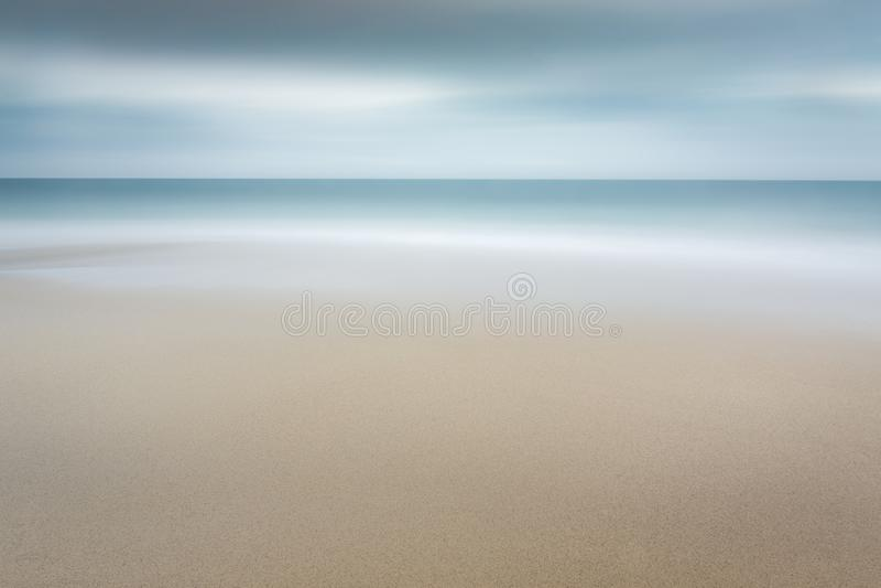 Serene Shoreline, Carlyon Bay, Cornwall stock photo