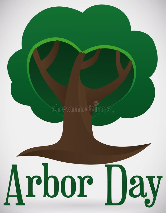 Serene Tree Shape Promoting Arbor dag, vektorillustration stock illustrationer