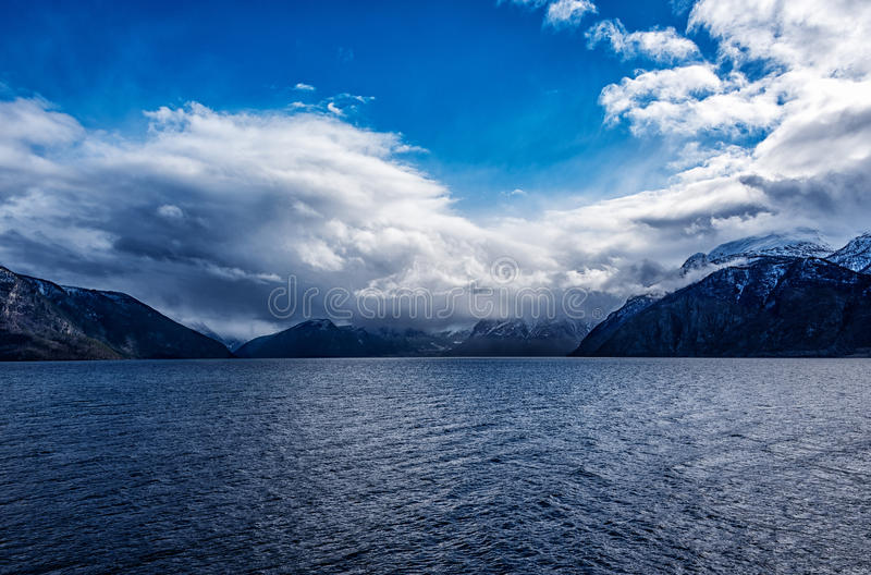 Serene view over Norwegian fjord. A beautiful spring day royalty free stock images
