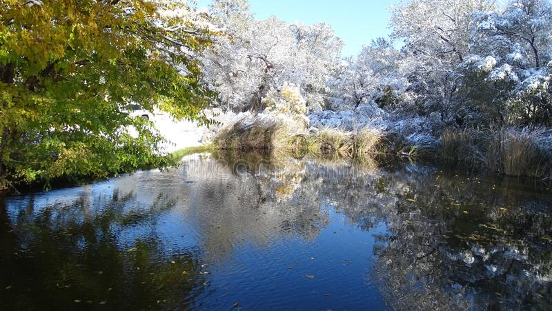 Serene Water: Transition from Fall to Winter stock images