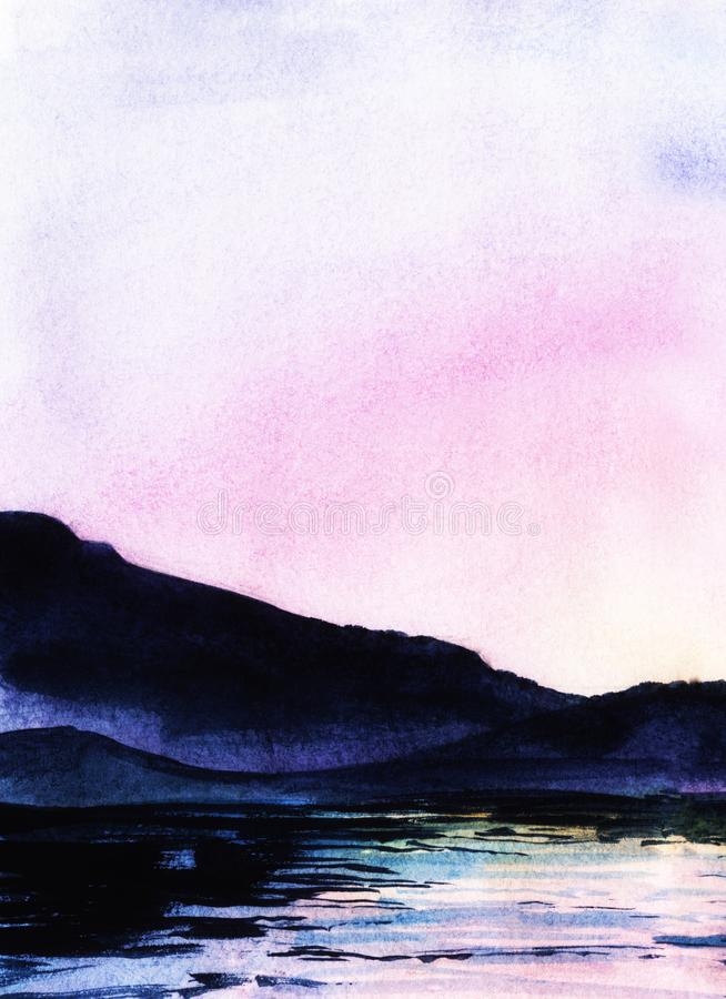 Free Serene Watercolor Landscape. Calm Water And Dark Outlines Of Majesctic Mountains Against Shining Sunset Sky Of Gradient Stock Photos - 156140063