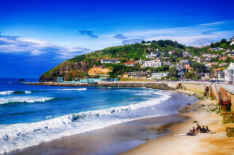 Serenità sulla spiaggia Nuova Zelanda della st Clairs immagine stock libera da diritti
