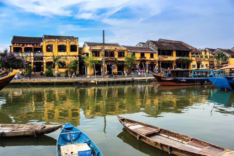 Sereniteten av Hoi An Ancient Town i centrala Vietnam arkivbild