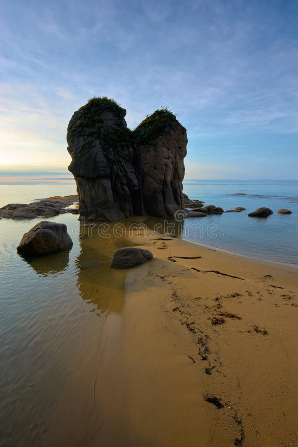 Serenity. A quiet, peaceful morning on the coast. Japan Sea stock images