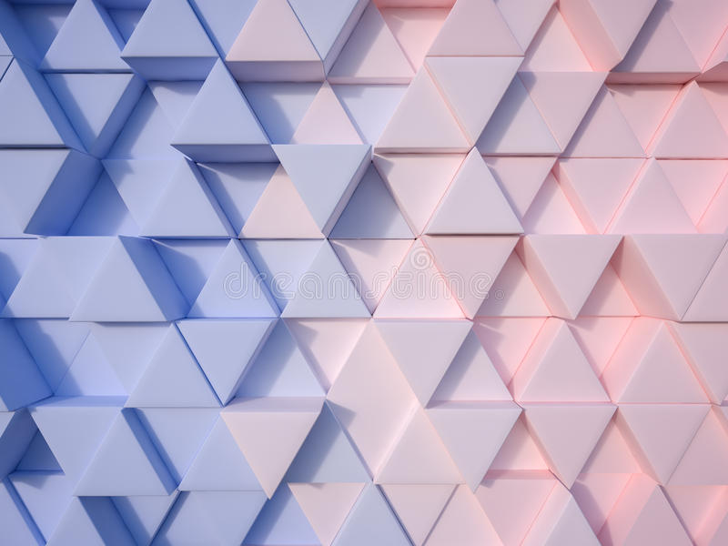 Serenity Blue and Rose Quartz abstract 3d triangle background royalty free illustration