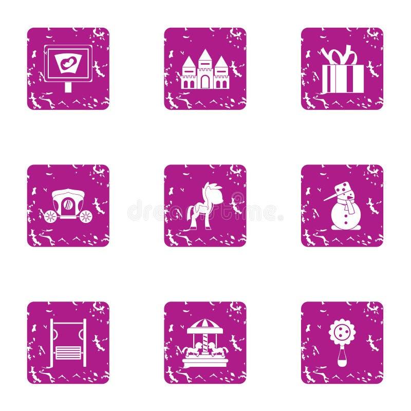 Serenity icons set, grunge style. Serenity icons set. Grunge set of 9 serenity vector icons for web isolated on white background vector illustration